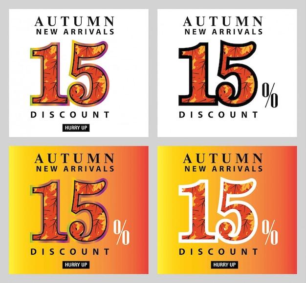 Jeu de carte et étiquette d'offre de vente d'automne