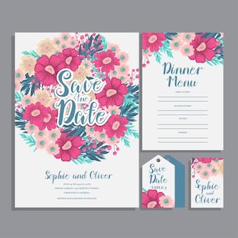 Jeu de carte avec fleur rose, feuilles. concept d'ornement de mariage.