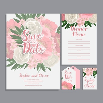 Jeu de carte avec fleur rose