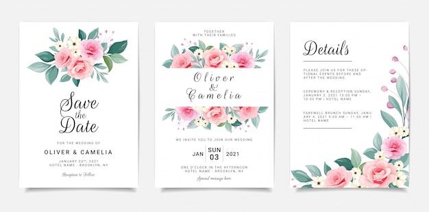 Jeu de carte avec des fleurs. modèle d'invitation serti de cadre floral et bouquet