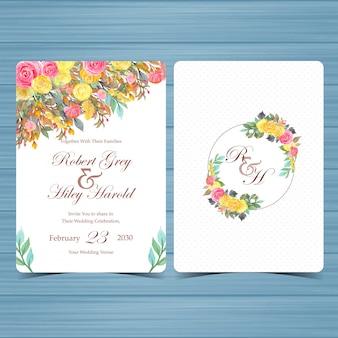 Jeu de carte d'invitation de mariage floral avec des fleurs colorées