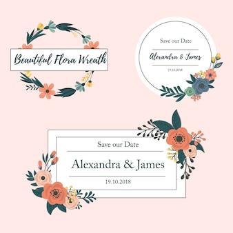 Jeu de carte d'invitation de mariage avec floral sur fond rose. célébration de mariage. vecteur