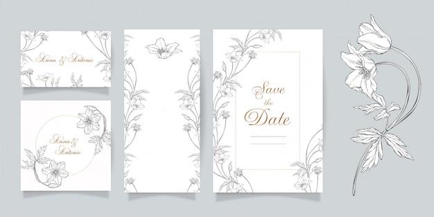 Jeu de carte d'invitation de mariage avec imprimé floral d'anémone