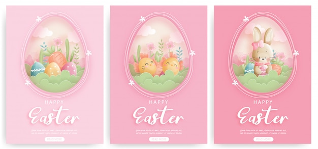 Jeu de carte de pâques avec des lapins mignons et des oeufs de pâques.