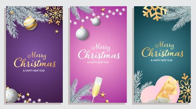 Jeu de carte de voeux joyeux noël et bonne année