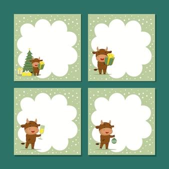 Jeu de carte de voeux avec des taureaux de noël mignons.