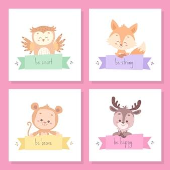 Jeu de cartes animal mignon