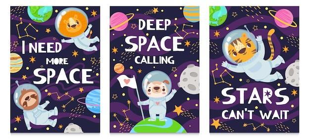 Jeu de cartes d'animaux dans l'espace