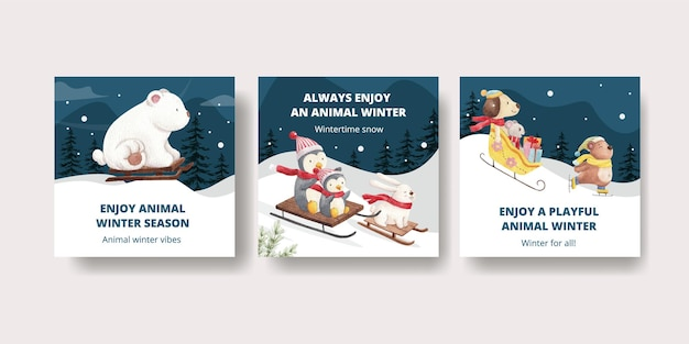 Jeu de cartes d'animaux d'hiver