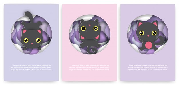 Jeu de cartes d'anniversaire avec chat noir mignon dans un style papier découpé.