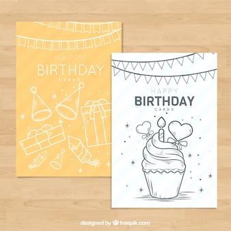 Jeu de cartes d'anniversaire dans le style dessiné à la main