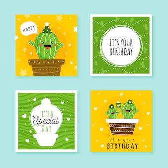 Jeu de cartes d'anniversaire avec des éléments de fête colorés