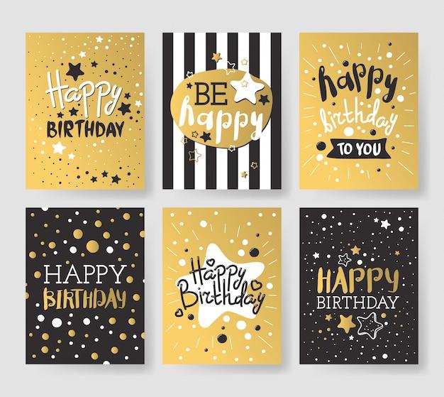 Jeu de cartes d'anniversaire de luxe décorées avec des ballons colorés, des étoiles, des points, des lignes