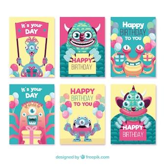Jeu de cartes d'anniversaire avec des monstres rigolos