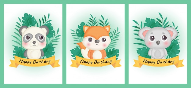 Jeu de cartes d'anniversaire avec panda, renard et koala dans un style aquarelle.