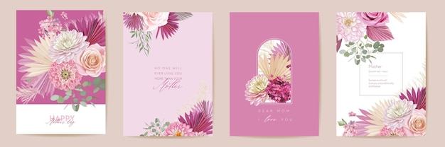 Jeu de cartes aquarelle pour la fête des mères. conception de carte postale minimale de salutation de maman. rose de vecteur, fleurs de dahlia, modèle de feuilles de palmier. cadre d'herbe de la pampa. typographie de bouquet de fleurs de printemps. brochure moderne femme