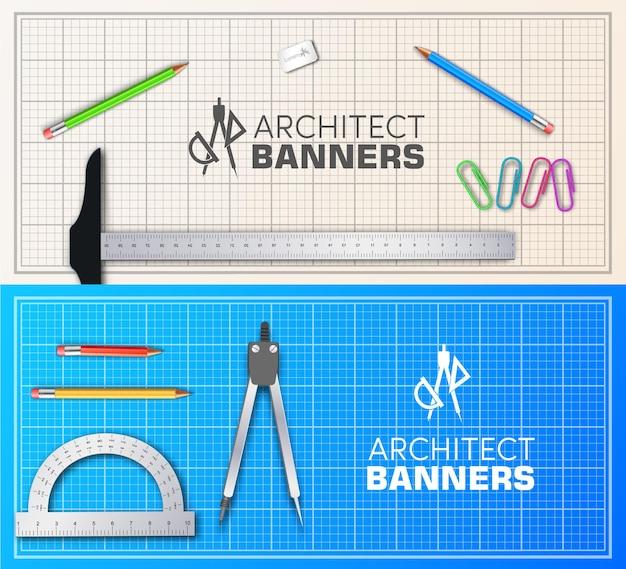 Jeu de cartes de bannières de plan d'architecte
