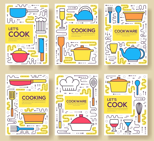 Jeu de cartes de batterie de cuisine de qualité supérieure. modèle linéaire de table de cuisine de flyear, livre, bannières.