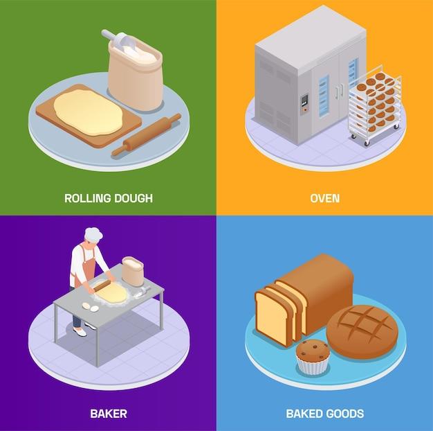 Jeu de cartes de boulangerie isométrique