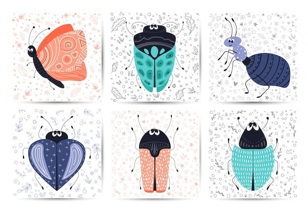 Jeu de cartes avec un bug de dessin animé de vecteur ou coléoptère, plat