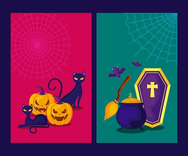 Jeu de cartes avec des citrouilles et des icônes halloween