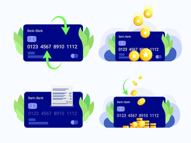 Jeu de cartes de crédit. carte de crédit, pièces de monnaie, remise en argent, points de fidélité, chèque de paiement. style plat à la mode.
