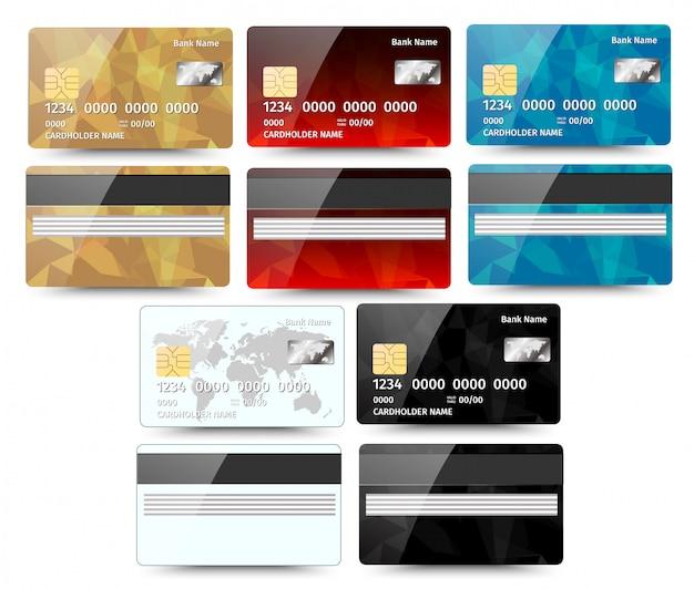 Jeu de cartes de crédit détaillées réalistes avec un design géométrique abstrait isolé sur fond blanc. illustration