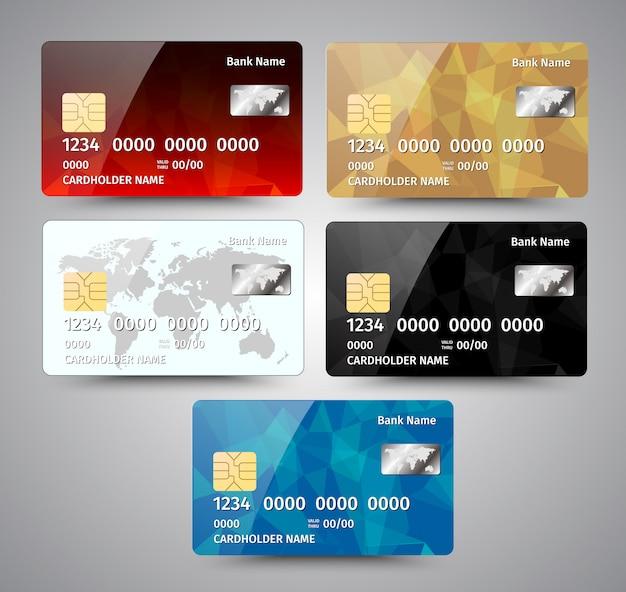 Jeu de cartes de crédit détaillées réalistes avec un design géométrique abstrait isolé sur fond gris. illustration