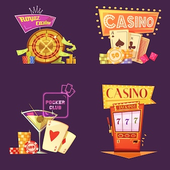 Jeu de cartes de dessin animé rétro royal casino