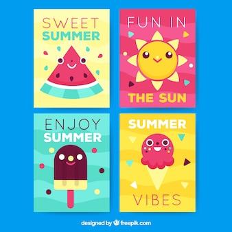 Jeu de cartes d'été avec des dessins animés mignons