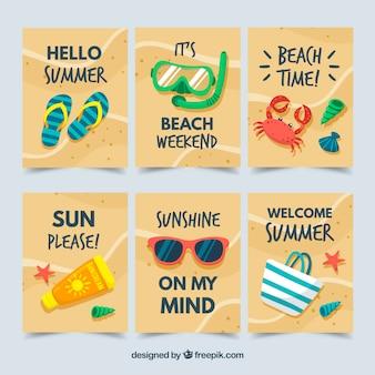 Jeu de cartes d'été avec des éléments de plage