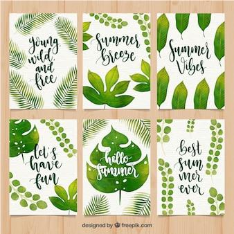 Jeu de cartes d'été avec des formes aquarelles