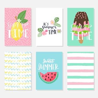 Jeu de cartes d'été lumineux vectorielles. belles affiches d'été avec bananes, feuilles de palmier, phrases. cartes journal.