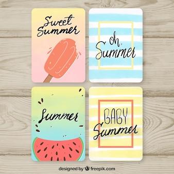 Jeu de cartes d'été avec de la nourriture fraîche