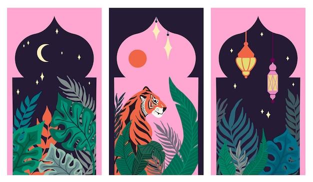 Jeu de cartes avec des feuilles tropicales abstraites, tigre et lanterne arabe islamique dans les arches asiatiques
