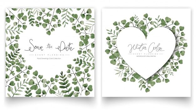 Jeu de cartes de feuilles vert aquarelle.