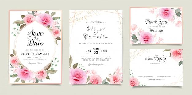 Jeu de cartes avec floral. modèle de carte d'invitation de mariage serti de cadre floral