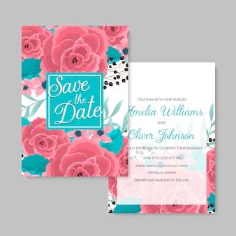 Jeu de cartes floral modèle de mariage floral rose
