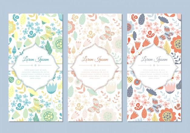 Jeu de cartes florales doodle vintage mignon