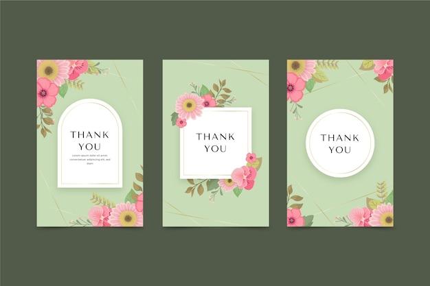 Jeu de cartes florales plates