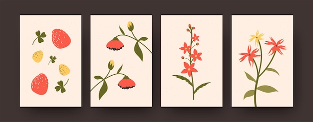 Jeu de cartes de fraises mûres et éléments floraux