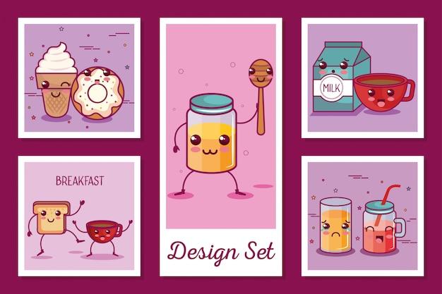 Jeu de cartes d'icônes de petit déjeuner style kawaii