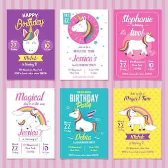 Jeu de cartes d'invitation anniversaire licorne