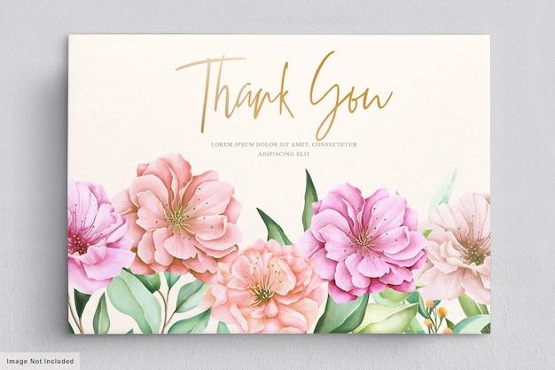 Jeu de cartes d'invitation aquarelle fleur de cerisier