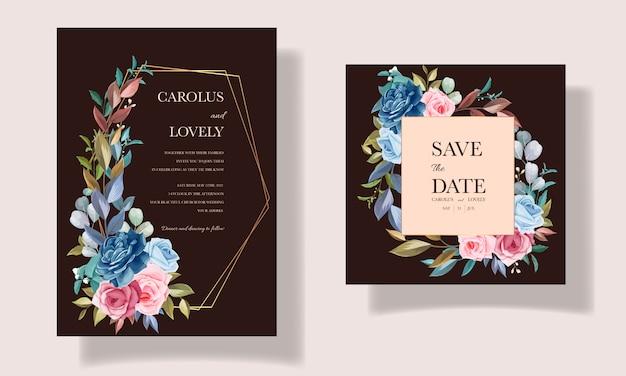 Jeu de cartes d'invitation belle fleur et feuilles