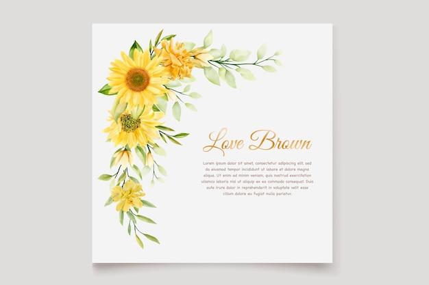 Jeu de cartes d'invitation floral tournesol