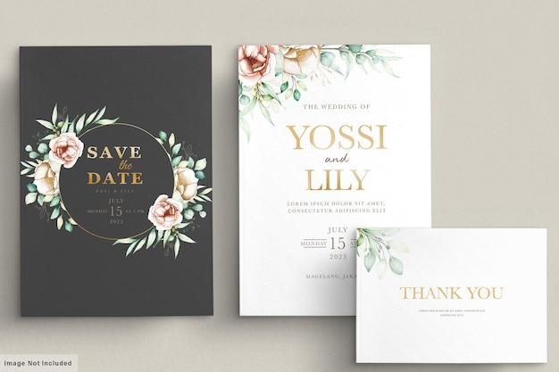 Jeu de cartes d & # 39; invitation floral