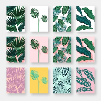 Jeu de cartes d'invitation avec fond de feuilles
