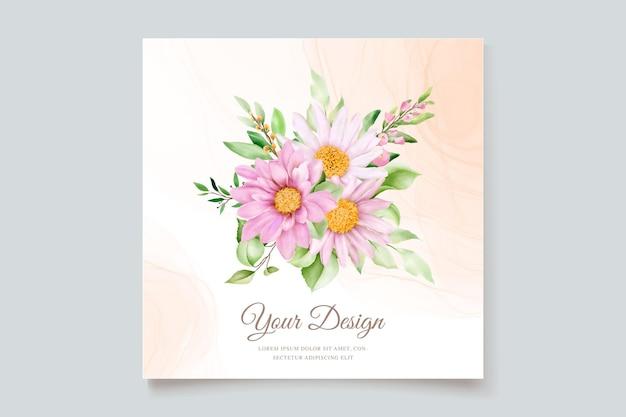 Jeu de cartes d'invitation marguerite aquarelle dessinés à la main