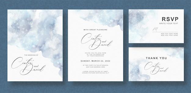 Jeu de cartes d'invitation de mariage aquarelle splash gris